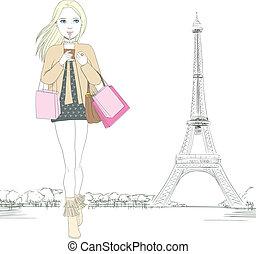 Paris Fashion Girl - Beautiful woman walking while drinking...