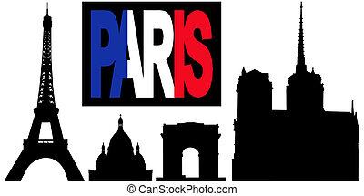 Paris flag text and landmarks