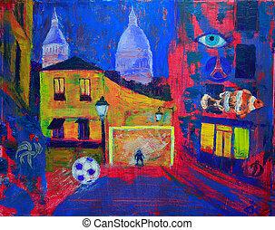 paris, footbal, peinture, résumé, montmartre