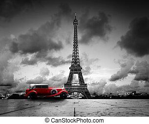 paris, frança, pretas, retro, torre, carro., branco...
