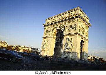 paris, frança, time., triumph., arco, dia