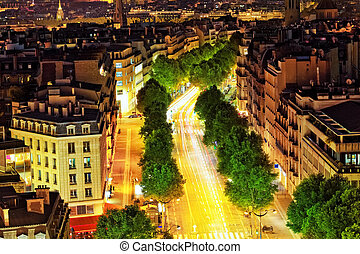 paris, fran, de, defans, arco, area.paris., vista, triomphe.