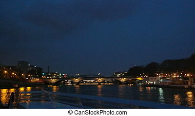PARIS, FRANCE - 24 MARCH, 2016: Seine River cruise on boat...
