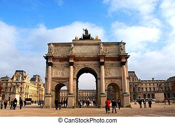 Arc de Triomphe du Carrousel outside of Louvre in Paris, France