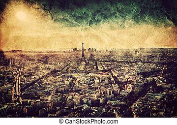Paris, France at sunset. Aerial view on landmarks. Vintage