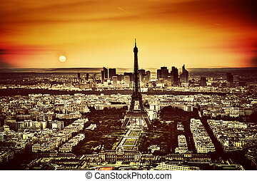 Paris, France at sunset. Aerial view on the Eiffel Tower and...