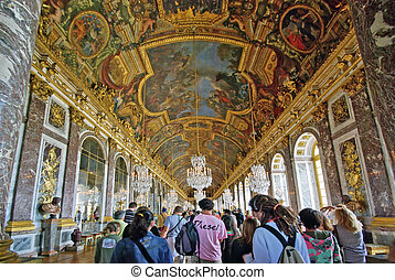 Tourists visiting Versailles Palace - PARIS, FRANCE - AUGUST...