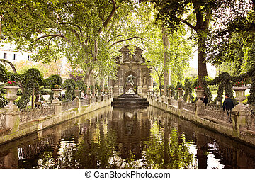 Paris - PARIS, FRANCE, August 9, 2014: Medici Fountain in...