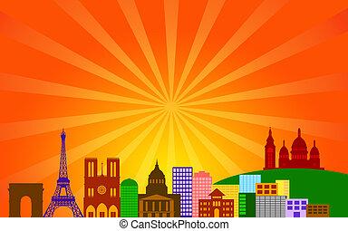 Paris France City Skyline Panorama