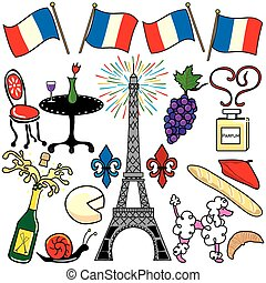Paris France clipart elements icons - Create your own ...