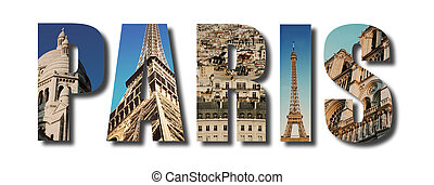 Paris France collage on white