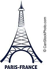 Paris France, Eiffel Tower, vector icon