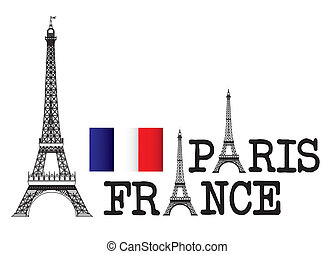 eiffel tower with paris and france text over white background. vector
