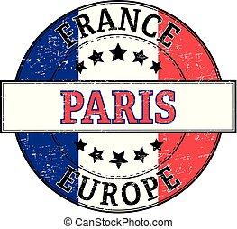paris france europe round stamp
