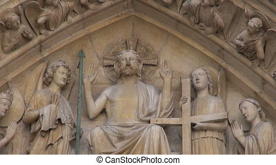 famous Notre Dame cathedral facade