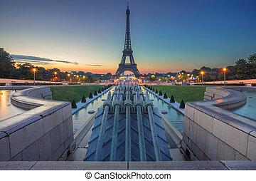Paris, France. - Image of Paris at sunrise with the Eiffel...