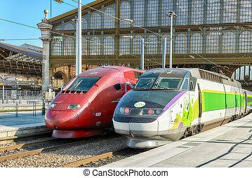 PARIS, FRANCE - JULY 07, 2016 : Modern speed passenger train...
