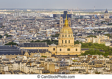 Paris, France-may 15, 2016: View from the Eiffel tower on the streets of Paris, the dome of the Cathedral of Saint-Louis-des-Invalides