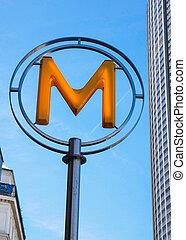 Modern metro station sign. Subway train entrance.