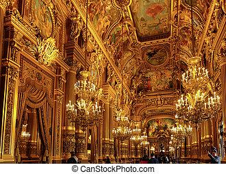 Grand Foyer of the Palais Garnier in Paris.  France