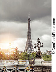 Paris, France on a cloudy day.