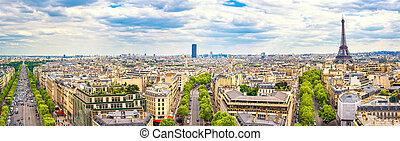 Paris, France. Panoramic view from Arc de Triomphe. Eiffel Tower and Avenue des Champs Elysees.