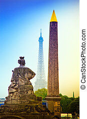 paris, france. place de la concorde. obelisk and the eiffel...