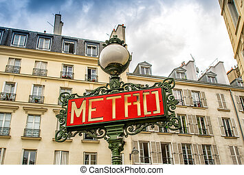 Paris, France - retro metro station sign. Subway train entrance