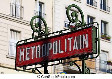 Paris, France - retro metro station sign. Subway train entrance.
