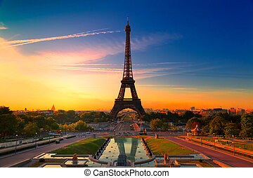 Paris, France - Sunrise in Paris, with the Eiffel Tower