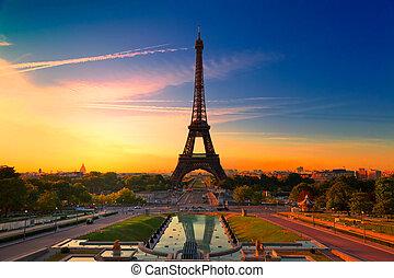 Paris, France - Sunrise in Paris, with the Eiffel Tower