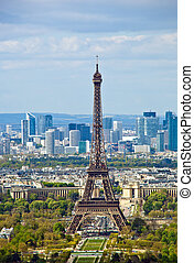 paris, france. the eiffel tower, the landmark of the city. view from the montparnasse tower