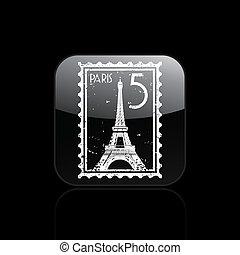 paris, freigestellt, abbildung, ledig, vektor, ikone