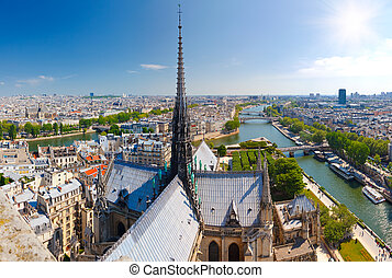 Paris from Notre Dame - View on Paris from Notre Dame,...