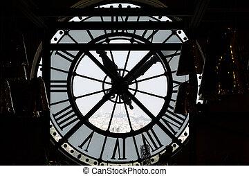 paris, genom, museum, sacrecoeur, sett, fönster, d'orsay