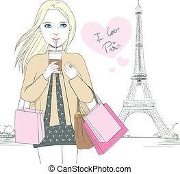 paris, girl, amour
