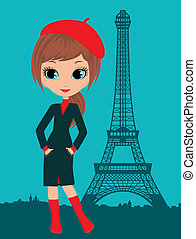 paris, girl, joli