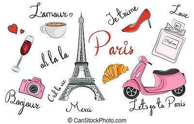 Paris hand drawn symbols, icons. France elements collection. Vector illustration.