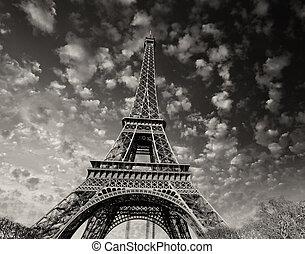 paris., hermoso, vista, de, torre eiffel, con, cielo, ocaso, colores