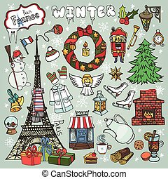 paris, hiver, noël, symbols.colored
