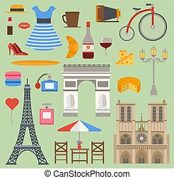 Paris icons vector set cuisine traditional modern France culture symbols. Europe Eiffel Paris icons fashion wine building design architecture. Famous travel love Paris icons monument capital landmark