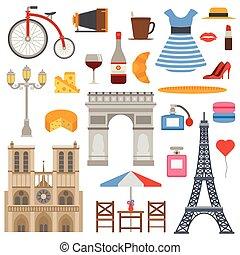 Paris icons vector set.