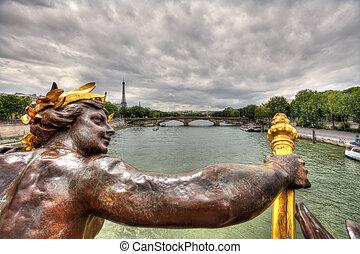 paris, iii, alexandre, bridge., vue