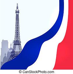 paris, illustration, vektor, flagga, fransk