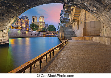 Paris. - Image of the Notre-Dame Cathedral and riverside of...