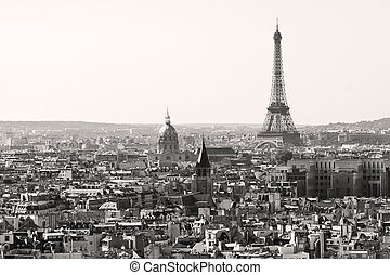 eiffel tower in paris city in black and white