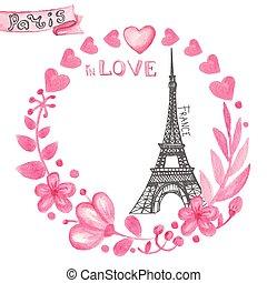 Paris in love. Watercolor floral pink wreath, Eiffel tower...