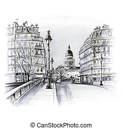 Paris in the winter morning, France - Bridge across river...