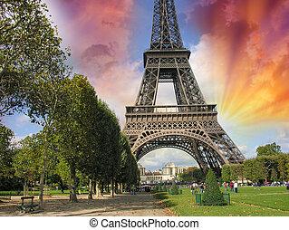 paris, la, excursão, eiffel., verão, pôr do sol, acima,...