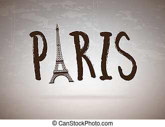Paris label over vintage bakground vector illustration